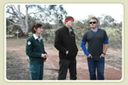 Claire, Adrian and Matt looking at areas bettongs can be released